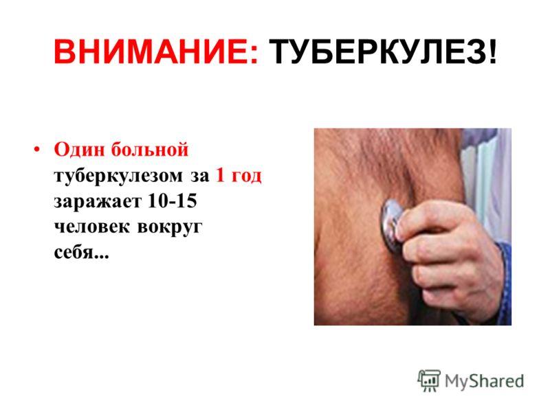 Один больной туберкулезом за 1 год заражает 10-15 человек вокруг себя...