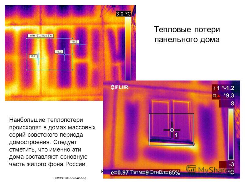 10 Тепловые потери панельного дома Наибольшие теплопотери происходят в домах массовых серий советского периода домостроения. Следует отметить, что именно эти дома составляют основную часть жилого фона России. (Источник ROCKWOOL)