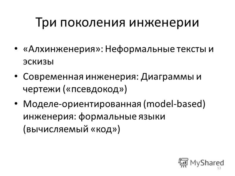 Три поколения инженерии «Алхинженерия»: Неформальные тексты и эскизы Современная инженерия: Диаграммы и чертежи («псевдокод») Моделе-ориентированная (model-based) инженерия: формальные языки (вычисляемый «код») 13