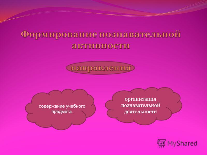 организация познавательной деятельности содержание учебного предмета.