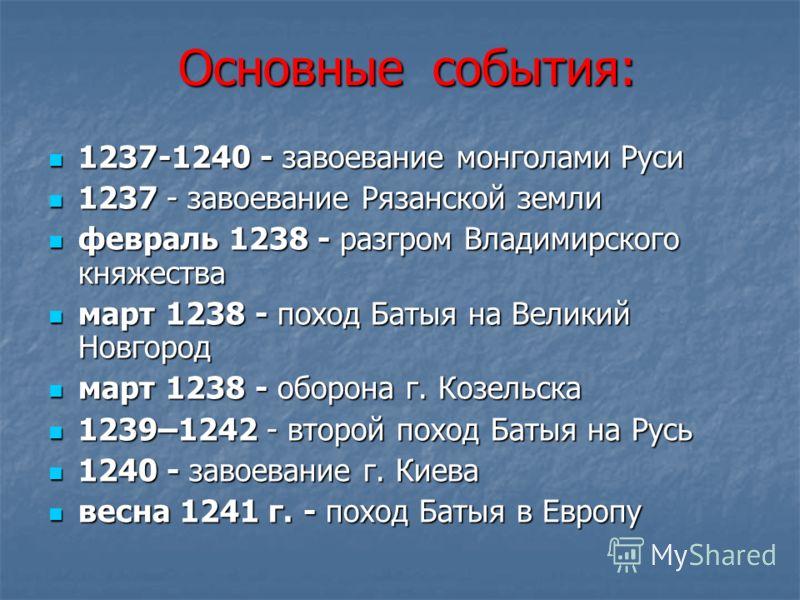 Основные события: Основные события: 1237-1240 - завоевание монголами Руси 1237-1240 - завоевание монголами Руси 1237 - завоевание Рязанской земли 1237 - завоевание Рязанской земли февраль 1238 - разгром Владимирского княжества февраль 1238 - разгром