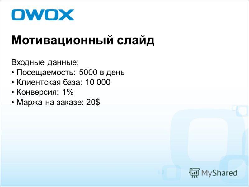 Мотивационный слайд Входные данные: Посещаемость: 5000 в день Клиентская база: 10 000 Конверсия: 1% Маржа на заказе: 20$