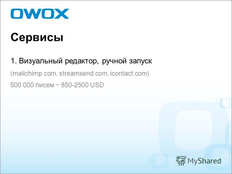 Сервисы 1. Визуальный редактор, ручной запуск (mailchimp.com, streamsend.com, icontact.com) 500 000 писем ~ 850-2500 USD