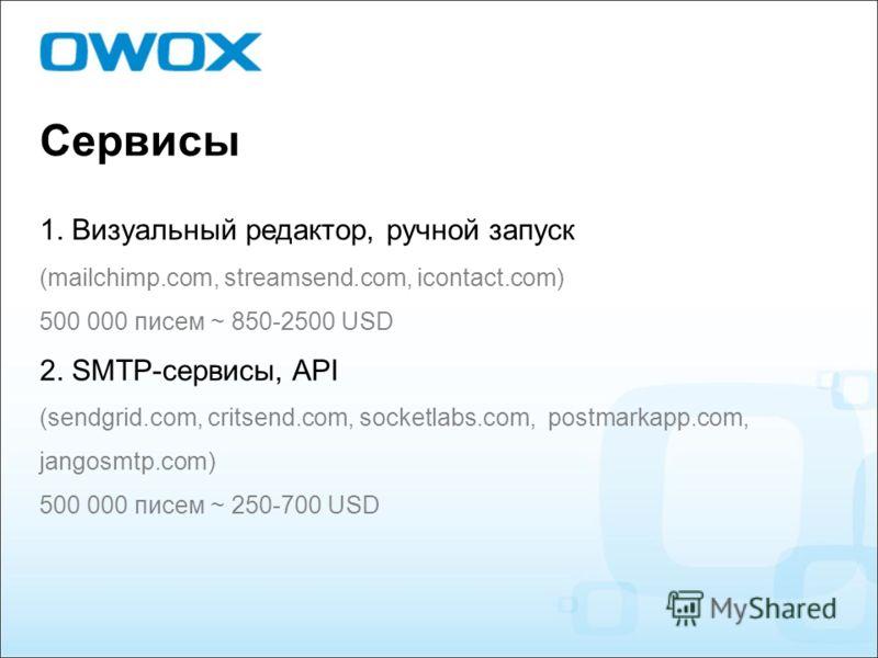 Сервисы 1. Визуальный редактор, ручной запуск (mailchimp.com, streamsend.com, icontact.com) 500 000 писем ~ 850-2500 USD 2. SMTP-сервисы, API (sendgrid.com, critsend.com, socketlabs.com, postmarkapp.com, jangosmtp.com) 500 000 писем ~ 250-700 USD