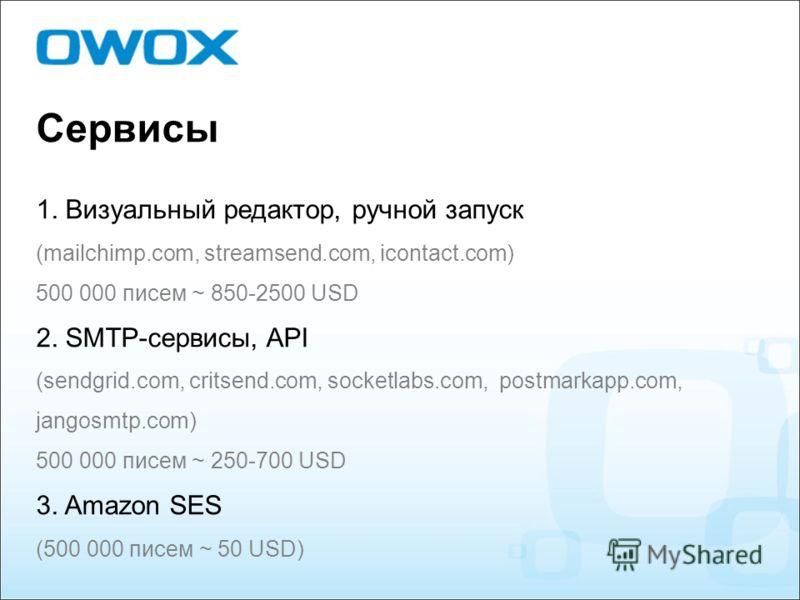 Сервисы 1. Визуальный редактор, ручной запуск (mailchimp.com, streamsend.com, icontact.com) 500 000 писем ~ 850-2500 USD 2. SMTP-сервисы, API (sendgrid.com, critsend.com, socketlabs.com, postmarkapp.com, jangosmtp.com) 500 000 писем ~ 250-700 USD 3.