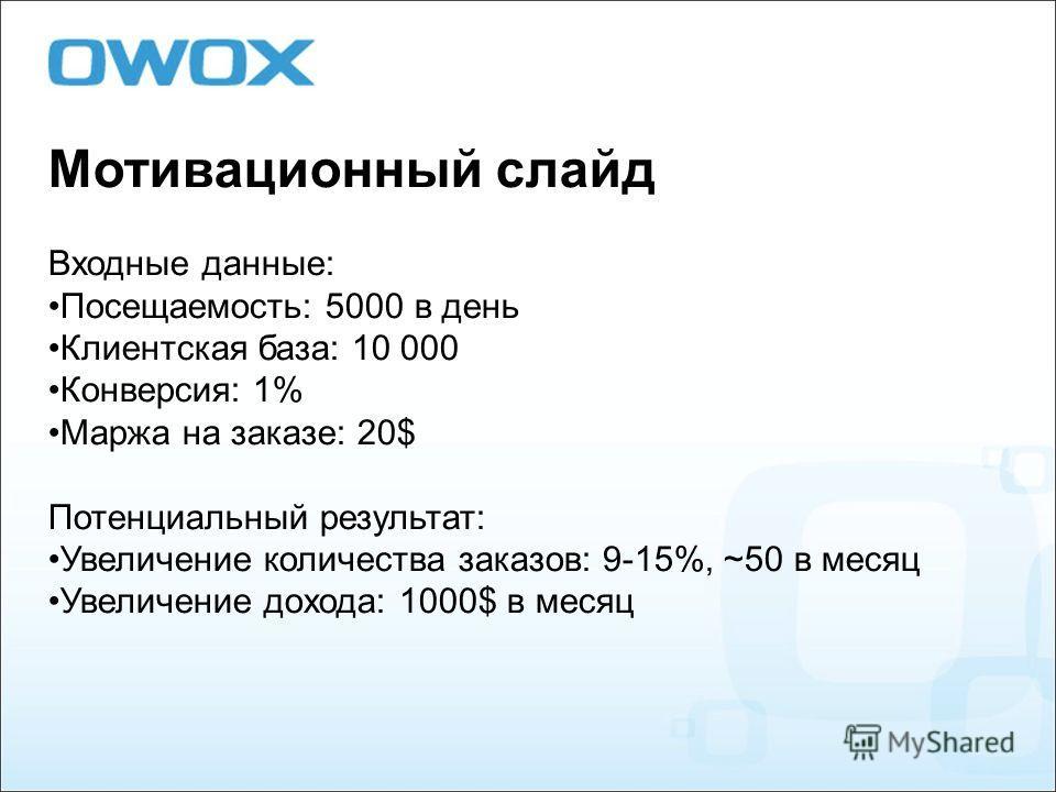 Мотивационный слайд Входные данные: Посещаемость: 5000 в день Клиентская база: 10 000 Конверсия: 1% Маржа на заказе: 20$ Потенциальный результат: Увеличение количества заказов: 9-15%, ~50 в месяц Увеличение дохода: 1000$ в месяц