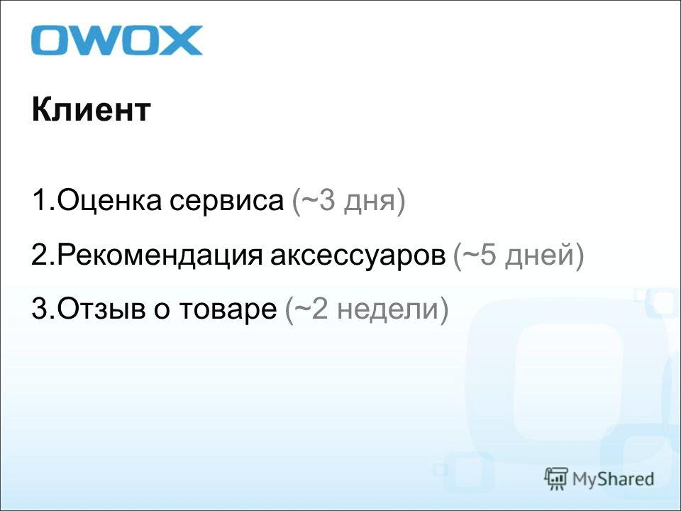 Клиент 1. Оценка сервиса (~3 дня) 2. Рекомендация аксессуаров (~5 дней) 3. Отзыв о товаре (~2 недели)