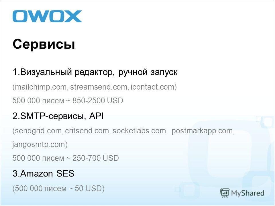 Сервисы 1. Визуальный редактор, ручной запуск (mailchimp.com, streamsend.com, icontact.com) 500 000 писем ~ 850-2500 USD 2.SMTP-сервисы, API (sendgrid.com, critsend.com, socketlabs.com, postmarkapp.com, jangosmtp.com) 500 000 писем ~ 250-700 USD 3. A
