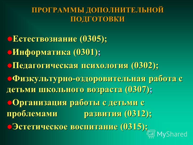 ПРОГРАММЫ ДОПОЛНИТЕЛЬНОЙ ПОДГОТОВКИ Естествознание (0305); Информатика (0301); Информатика (0301); Педагогическая психология (0302); Педагогическая психология (0302); Физкультурно-оздоровительная работа с детьми школьного возраста (0307); Физкультурн