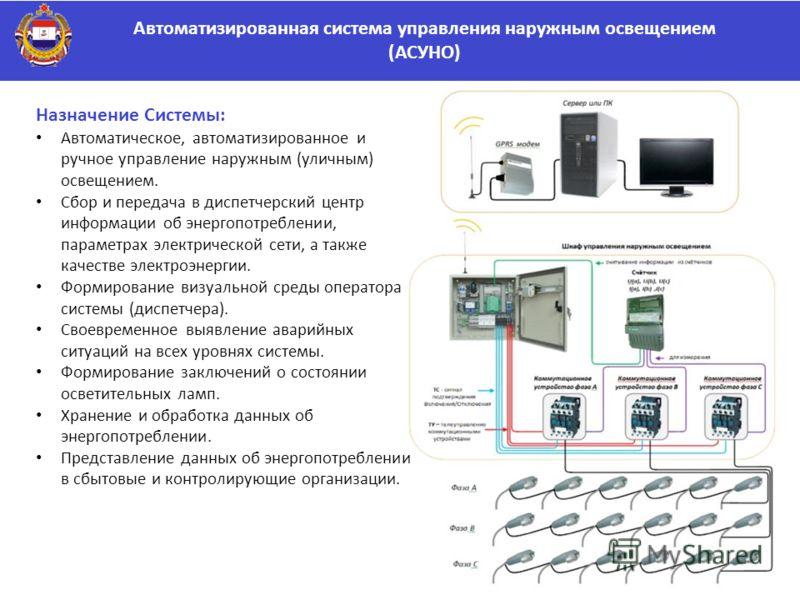 Автоматизированная система управления наружным освещением (АСУНО) Назначение Системы: Автоматическое, автоматизированное и ручное управление наружным (уличным) освещением. Сбор и передача в диспетчерский центр информации об энергопотреблении, парамет
