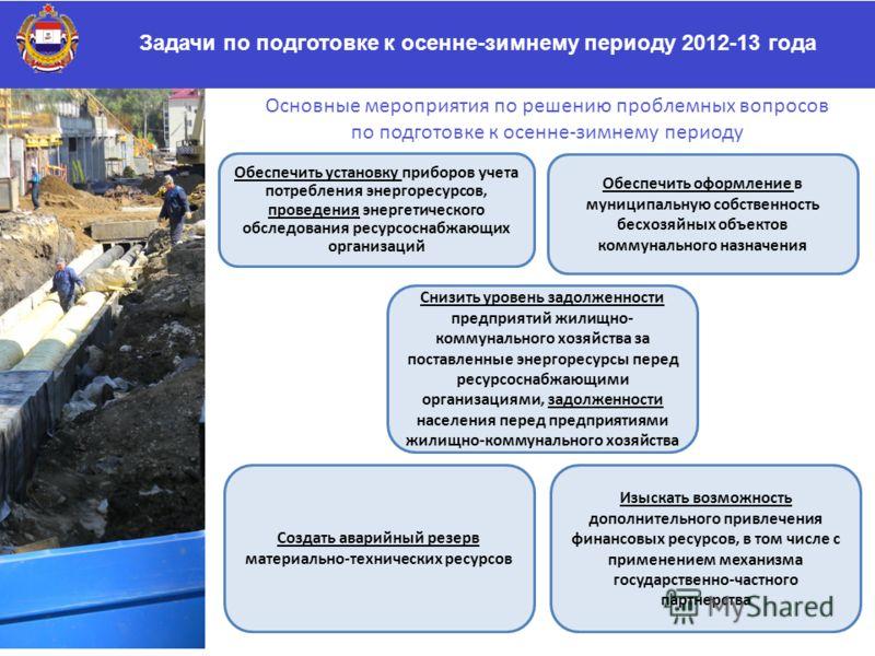 Задачи по подготовке к осенне-зимнему периоду 2012-13 года Обеспечить установку приборов учета потребления энергоресурсов, проведения энергетического обследования ресурсоснабжающих организаций Обеспечить оформление в муниципальную собственность бесхо