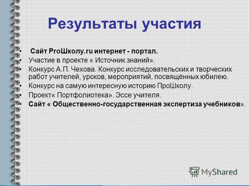 Результаты участия Сайт ProШколу.ru интернет - портал. Участие в проекте « Источник знаний». Конкурс А.П. Чехова. Конкурс исследовательских и творческих работ учителей, уроков, мероприятий, посвящённых юбилею. Конкурс на самую интересную историю ПроШ