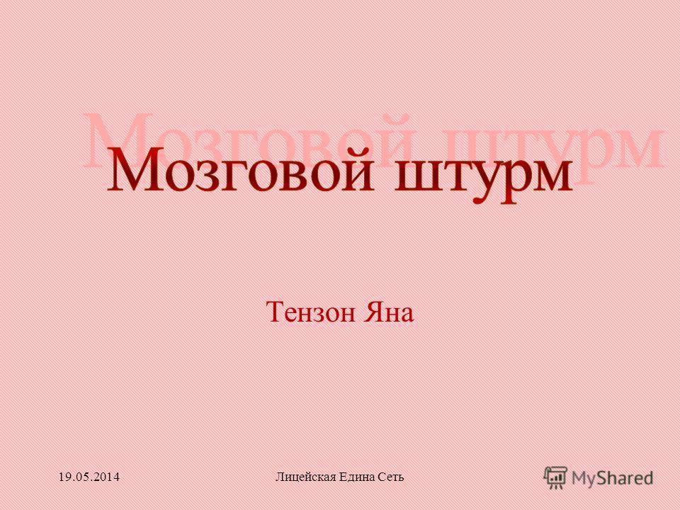 19.05.2014Лицейская Едина Сеть Тензон Яна