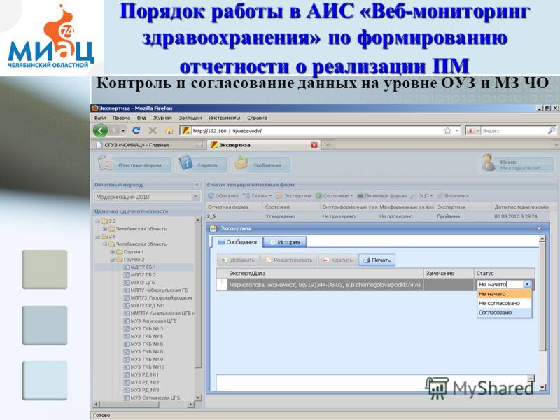 Контроль и согласование данных на уровне ОУЗ и МЗ ЧО Порядок работы в АИС «Веб-мониторинг здравоохранения» по формированию отчетности о реализации ПМ