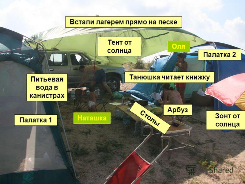 Встали лагерем прямо на песке Палатка 1 Палатка 2 Столы Тент от солнца Зонт от солнца Арбуз Танюшка читает книжку Питьевая вода в канистрах Оля Наташка