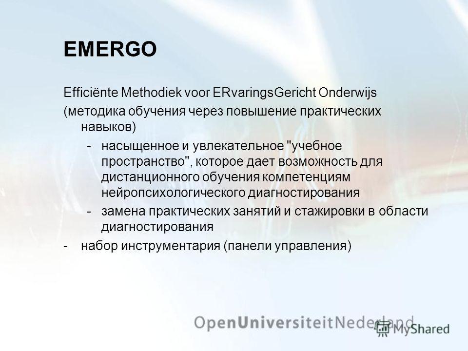EMERGO Efficiënte Methodiek voor ERvaringsGericht Onderwijs (методика обучения через повышение практических навыков) насыщенное и увлекательное