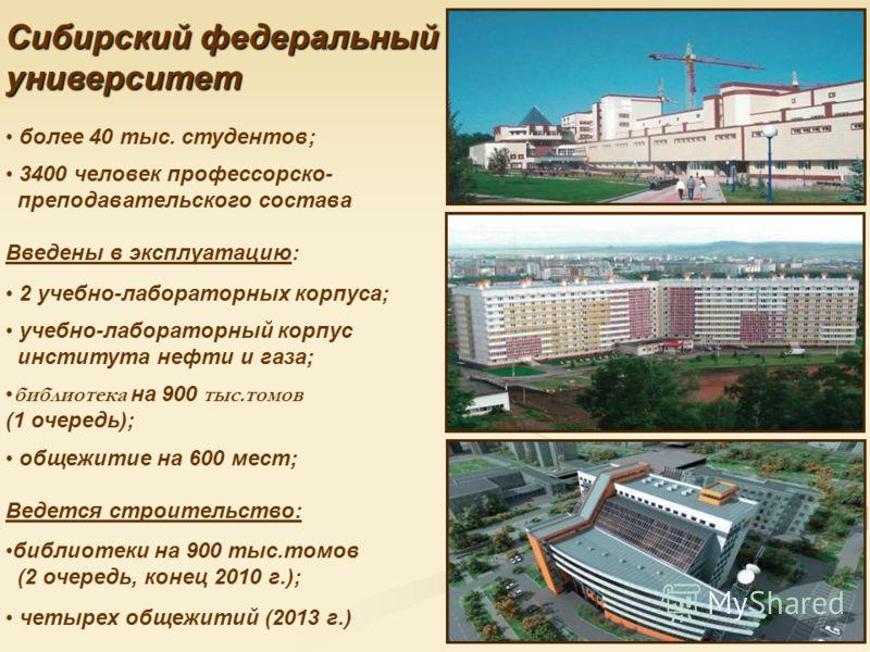 Сибирский федеральный университет более 40 тыс. студентов; 3400 человек профессорско- преподавательского состава Введены в эксплуатацию: 2 учебно-лабораторных корпуса; учебно-лабораторный корпус института нефти и газа; библиотека на 900 тыс.томов (1