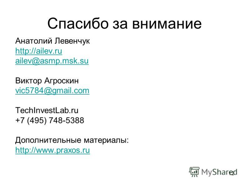 12 Спасибо за внимание Анатолий Левенчук http://ailev.ru ailev@asmp.msk.su Виктор Агроскин vic5784@gmail.com TechInvestLab.ru +7 (495) 748-5388 Дополнительные материалы: http://www.praxos.ru