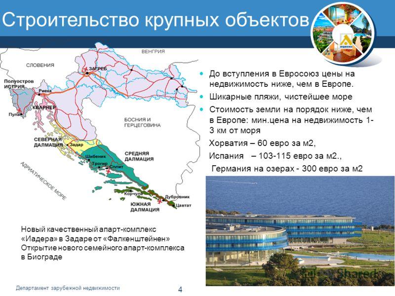 4 Департамент зарубежной недвижимости Строительство крупных объектов До вступления в Евросоюз цены на недвижимость ниже, чем в Европе. Шикарные пляжи, чистейшее море Стоимость земли на порядок ниже, чем в Европе: мин.цена на недвижимость 1- 3 км от м