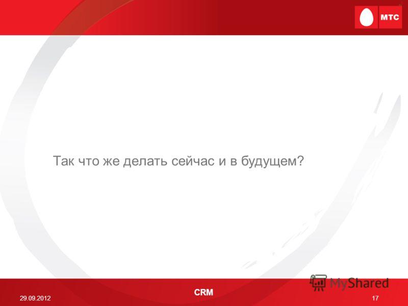 29.06.2012 CRM 17 Так что же делать сейчас и в будущем?