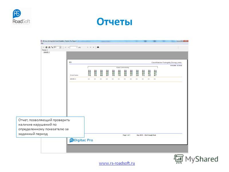 www.rs-roadsoft.ru Отчеты Отчет, позволяющий проверить наличие нарушений по определенному показателю за заданный период