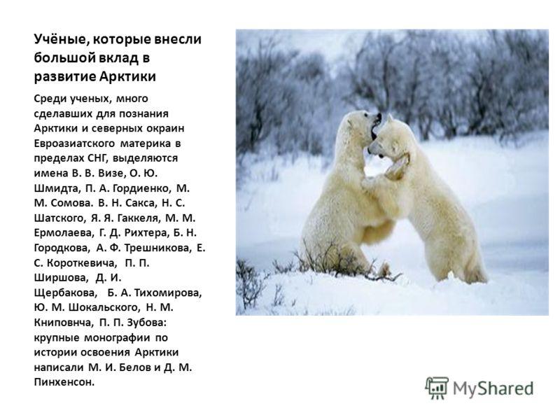 Учёные, которые внесли большой вклад в развитие Арктики Среди ученых, много сделавших для познания Арктики и северных окраин Евроазиатского материка в пределах СНГ, выделяются имена В. В. Визе, О. Ю. Шмидта, П. А. Гордиенко, М. М. Сомова. В. Н. Сакса