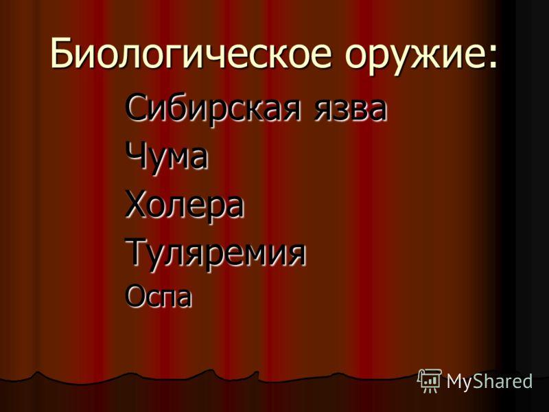 Биологическое оружие: Сибирская язва ЧумаХолераТуляремияОспа