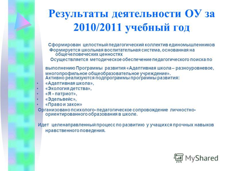 Результаты деятельности ОУ за 2010/2011 учебный год Сформирован целостный педагогический коллектив единомышленников Формируется школьная воспитательная система, основанная на общечеловеческих ценностях Осуществляется методическое обеспечение педагоги