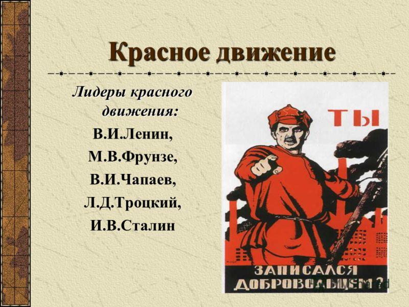 Красное движение Лидеры красного движения: В.И.Ленин, М.В.Фрунзе, В.И.Чапаев, Л.Д.Троцкий, И.В.Сталин