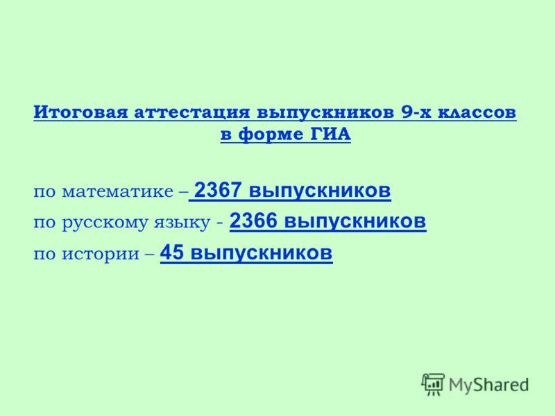 Итоговая аттестация выпускников 9-х классов в форме ГИА по математике – 2367 выпускников по русскому языку - 2366 выпускников по истории – 45 выпускников