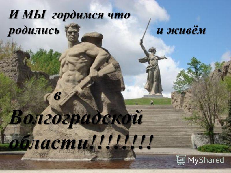 И МЫ гордимся что родились и живём в Волгоградской области!!!!!!!!