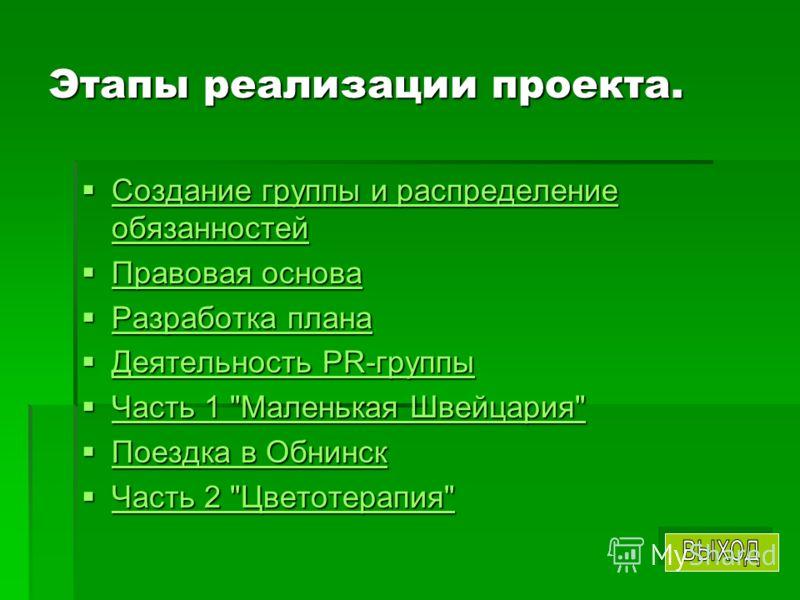 Этапы реализации проекта. Создание группы и распределение обязанностей Создание группы и распределение обязанностей Создание группы и распределение обязанностей Создание группы и распределение обязанностей Правовая основа Правовая основа Правовая осн