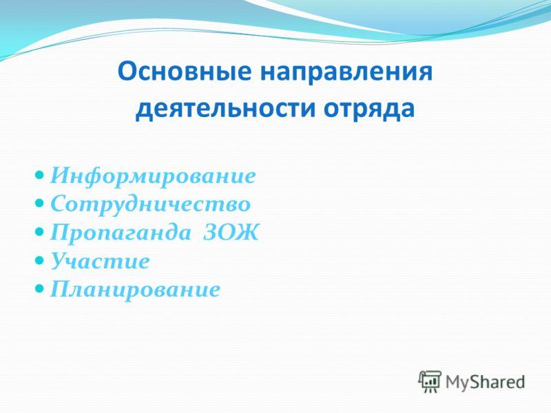 Основные направления деятельности отряда Информирование Сотрудничество Пропаганда ЗОЖ Участие Планирование