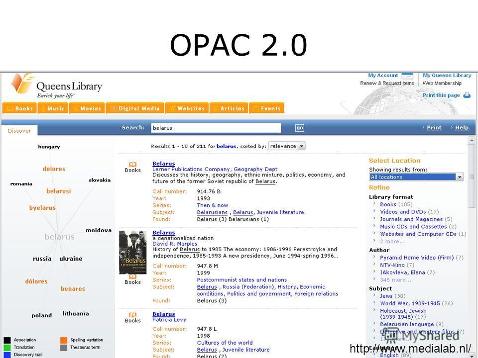 OPAC 2.0 http://www.medialab.nl/