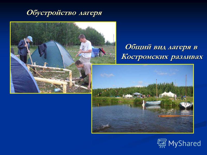 Обустройство лагеря Общий вид лагеря в Костромских разливах