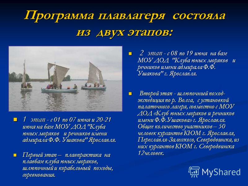 Программа плавлагеря состояла из двух этапов: 1 этап - с 01 по 07 июня и 20-21 июня на базе МОУ ДОД