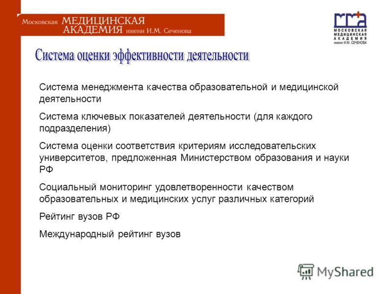 Система менеджмента качества образовательной и медицинской деятельности Система ключевых показателей деятельности (для каждого подразделения) Система оценки соответствия критериям исследовательских университетов, предложенная Министерством образовани
