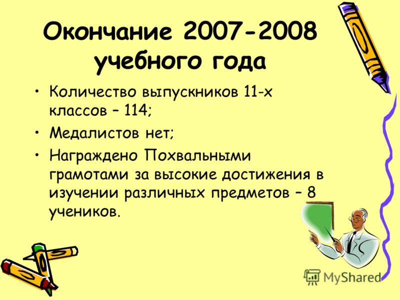 Окончание 2007-2008 учебного года Количество выпускников 11-х классов – 114; Медалистов нет; Награждено Похвальными грамотами за высокие достижения в изучении различных предметов – 8 учеников.