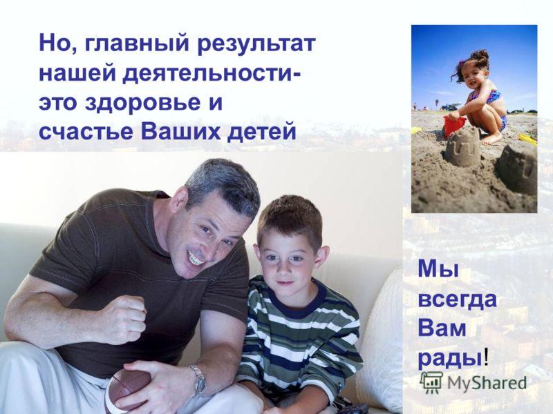 Но, главный результат нашей деятельности- это здоровье и счастье Ваших детей Мы всегда Вам рады!
