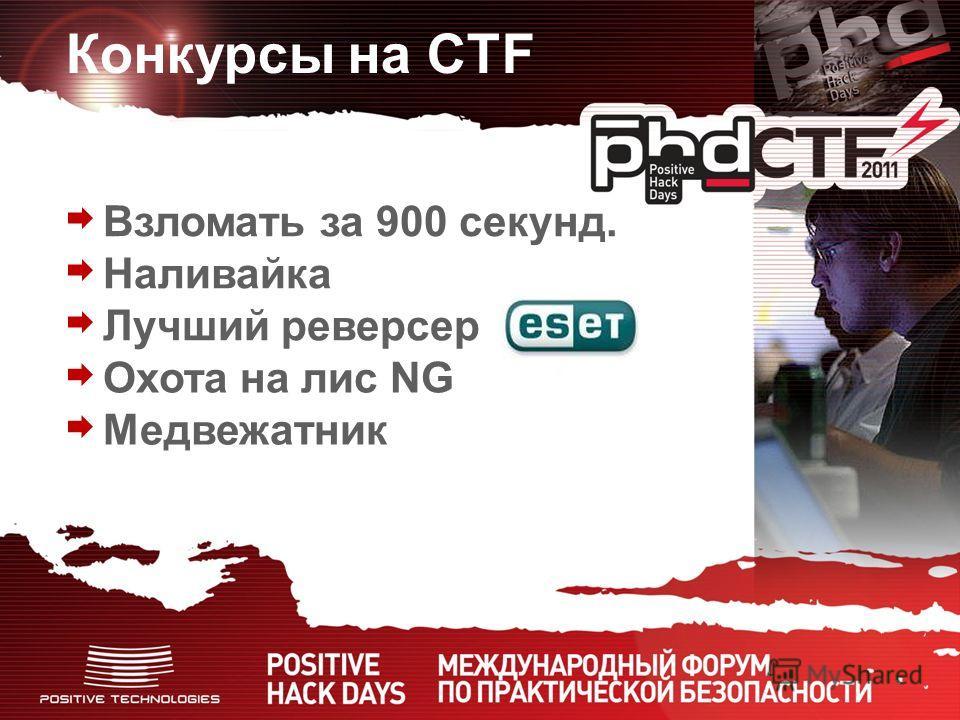 Конкурсы на CTF Взломать за 900 секунд. Наливайка Лучший реверсер Охота на лис NG Медвежатник