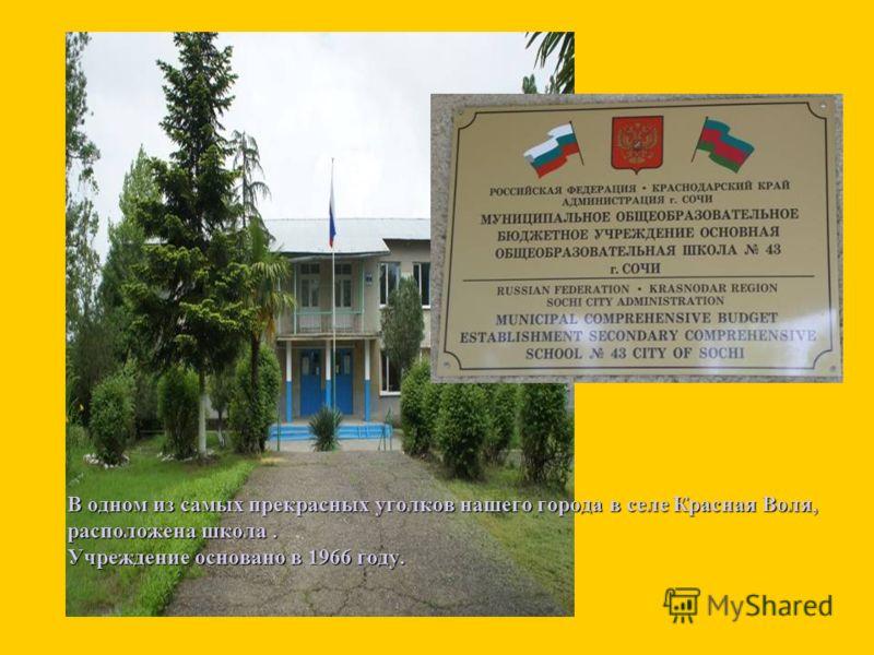 В одном из самых прекрасных уголков нашего города в селе Красная Воля, расположена школа. Учреждение основано в 1966 году.