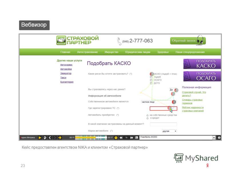 Вебвизор 23 Кейс предоставлен агентством NIKA и клиентом «Страховой партнер»