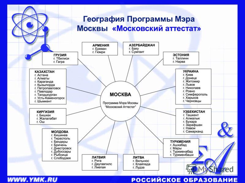 География Программы Мэра Москвы «Московский аттестат»