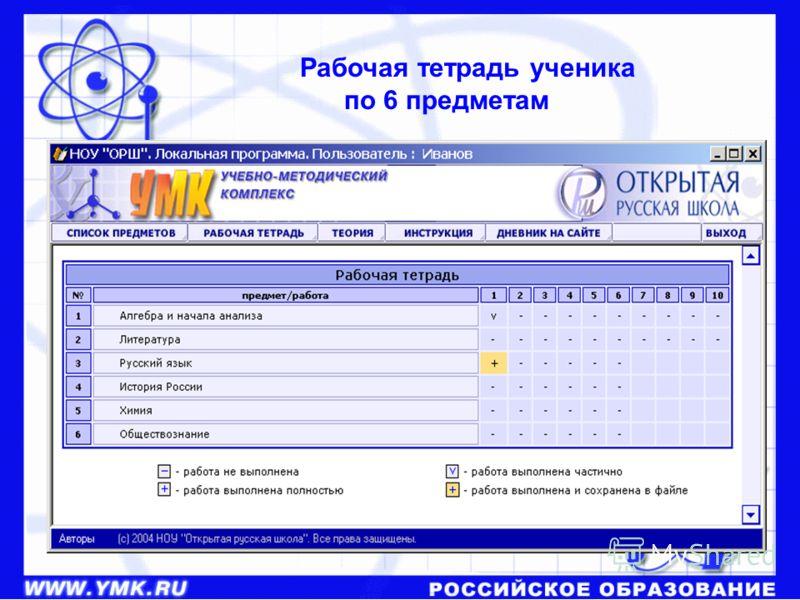 Рабочая тетрадь ученика по 6 предметам