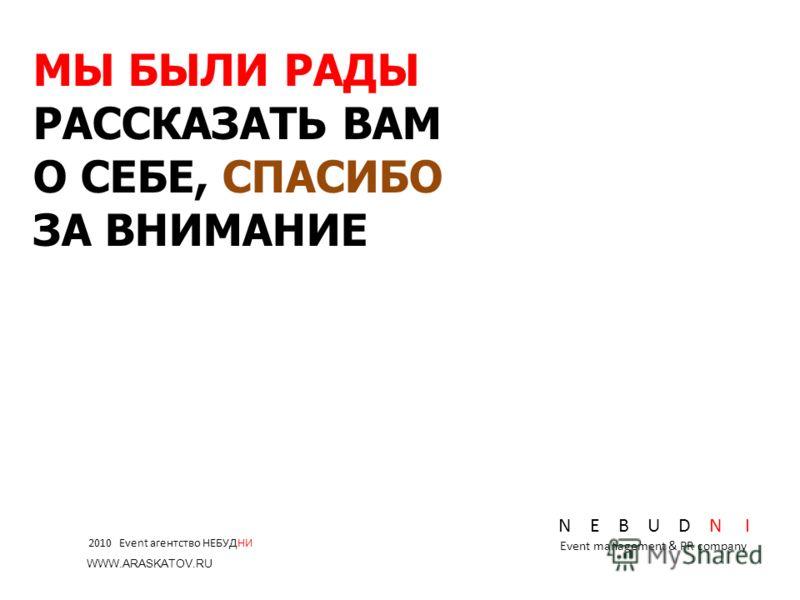 N E B U D N I Event management & PR company МЫ БЫЛИ РАДЫ РАССКАЗАТЬ ВАМ О СЕБЕ, СПАСИБО ЗА ВНИМАНИЕ 2010 Event агентство НЕБУДНИ WWW.ARASKATOV.RU