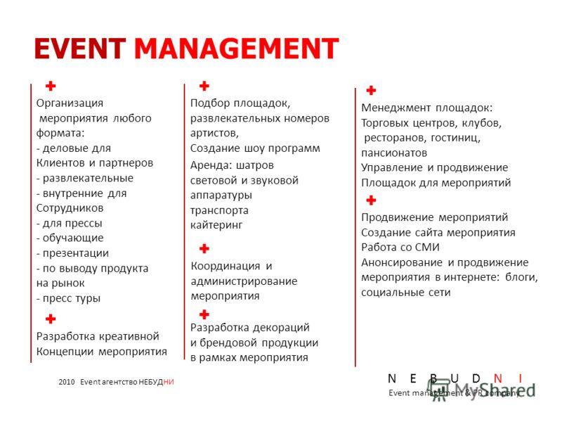 Менеджмент площадок: Торговых центров, клубов, ресторанов, гостиниц, пансионатов Управление и продвижение Площадок для мероприятий EVENT MANAGEMENT Организация мероприятия любого формата: - деловые для Клиентов и партнеров - развлекательные - внутрен