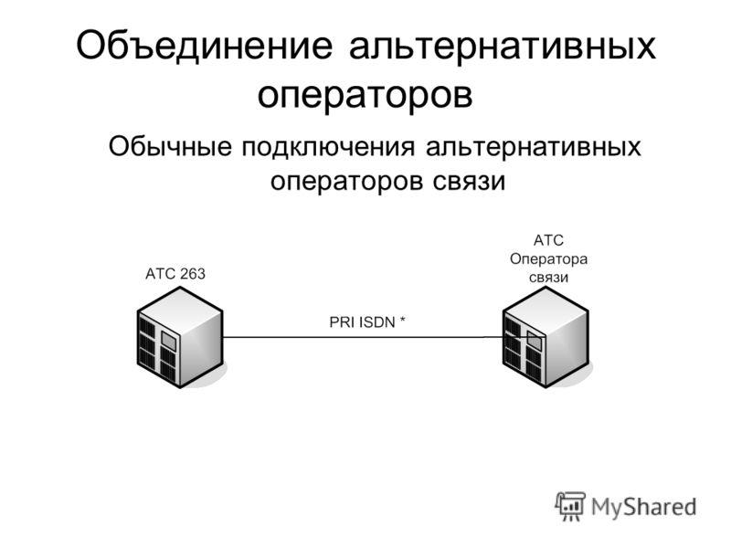 Объединение альтернативных операторов Обычные подключения альтернативных операторов связи