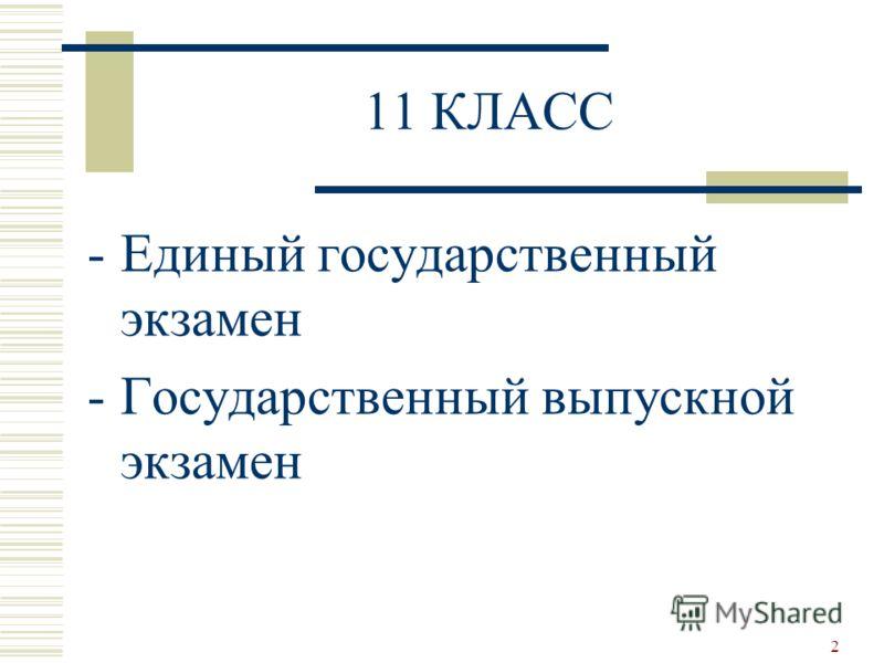 11 КЛАСС -Единый государственный экзамен -Государственный выпускной экзамен 2