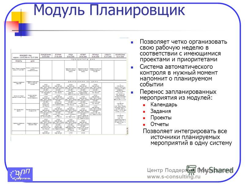 Центр Поддержки Предприятий www.s-consulting.ru Модуль Планировщик Позволяет четко организовать свою рабочую неделю в соответствии с имеющимися проектами и приоритетами Система автоматического контроля в нужный момент напомнит о планируемом событии П