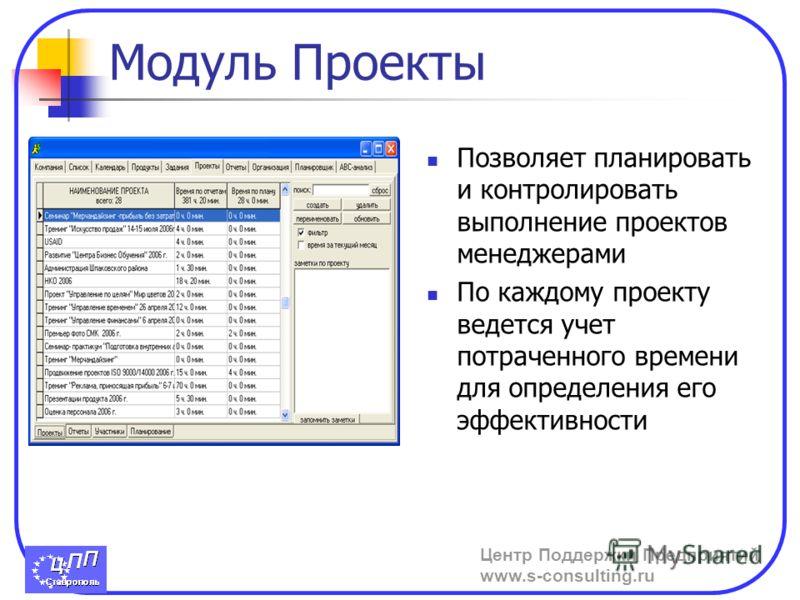 Центр Поддержки Предприятий www.s-consulting.ru Модуль Проекты Позволяет планировать и контролировать выполнение проектов менеджерами По каждому проекту ведется учет потраченного времени для определения его эффективности